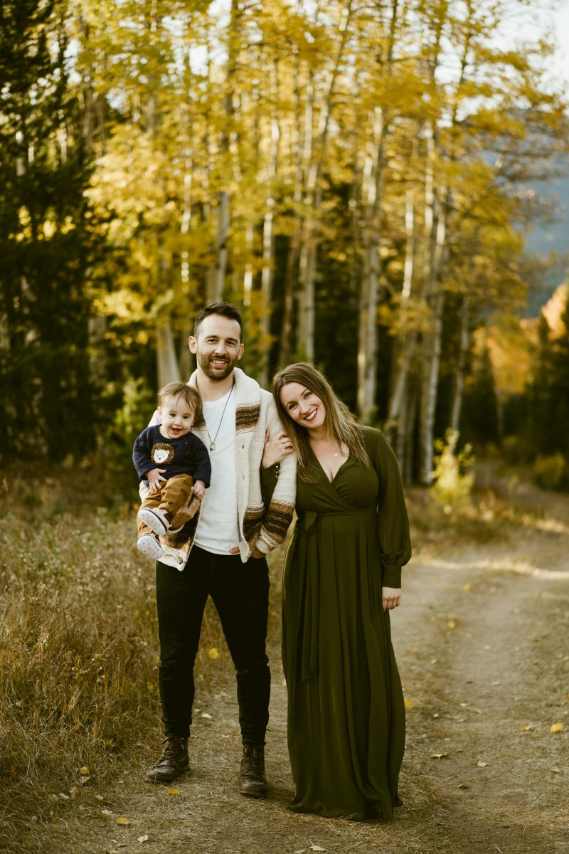 Alycia Owens and her family in the Rocky Mountains in the fall.
